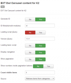 EXT Owl Carousel content for K2 module