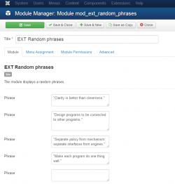 EXT Random phrases module