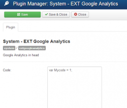 EXT Google Analytics plugin