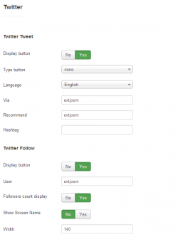 EXT Social buttons plugin