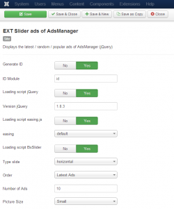 EXT Slider ads of AdsManager module