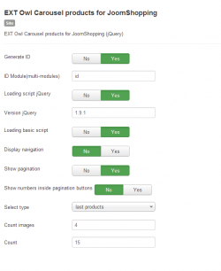 EXT Owl Carousel products for JoomShopping module