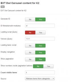 Модуль Owl карусель материалов для K2