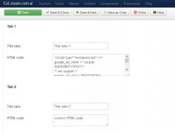 EXT Tabs custom HTML-code jQuery module